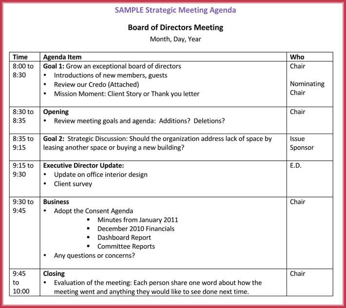 Sample Of Strategic Board Meeting Agenda Template  Agenda Templates