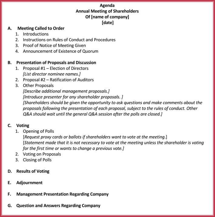 free business meeting agenda