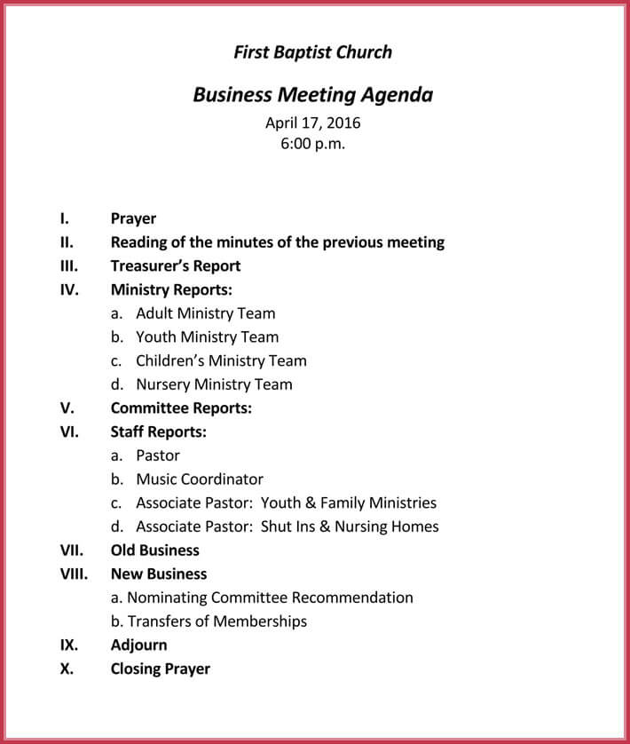 Business meeting agenda templates 9 best samples in pdf word church business meeting agenda example accmission