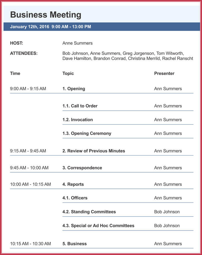 print free business meeting agenda