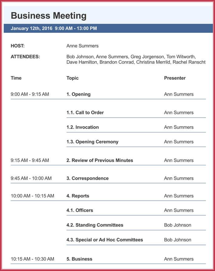 print free business meeting agenda