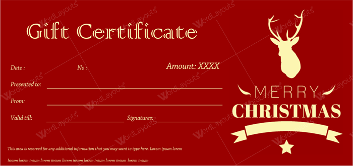 christmas gift certificate for word editable