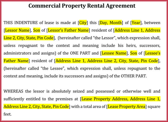 Free Commercial Rental lease Agreement