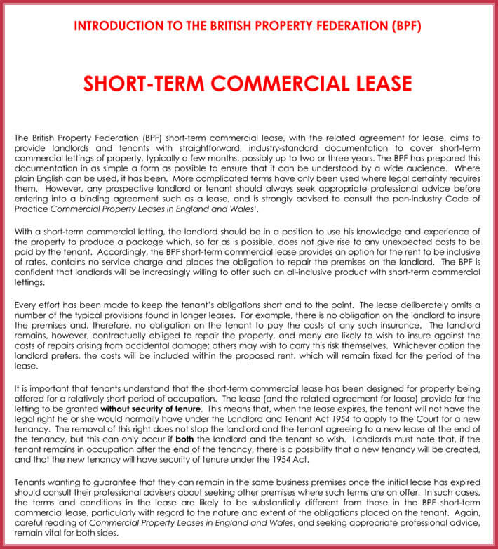 Sample Office Lease Basic Commercial Property Lease Agreement Sample
