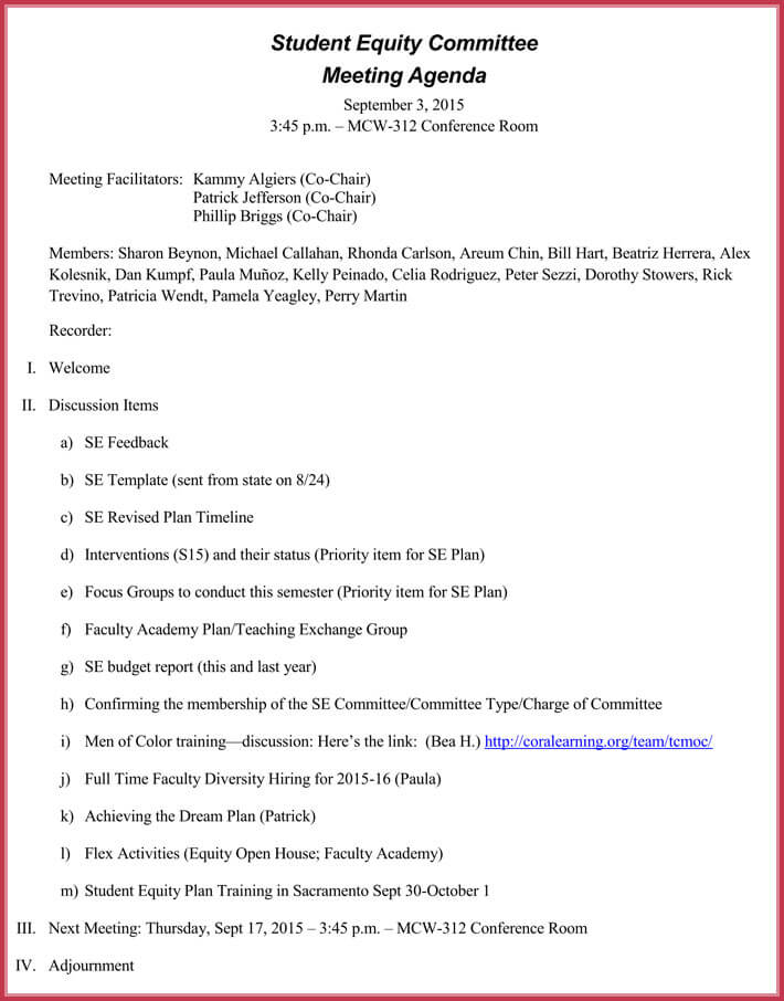 free formal meeting agenda template