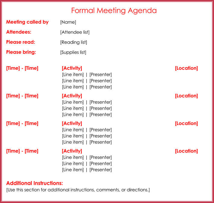 Formal Meeting Agenda Template For Business Organization  Formal Agenda Template