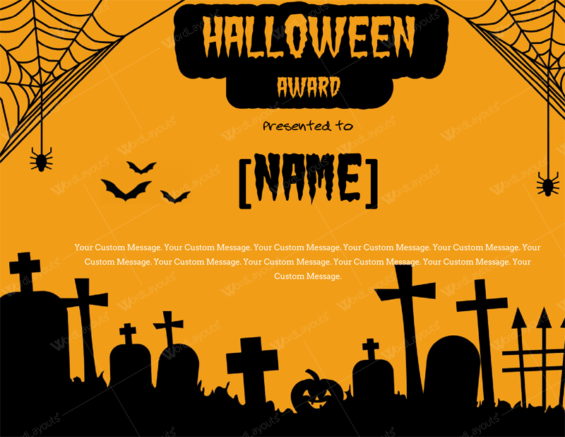 Free Halloween Award Certificate for Word