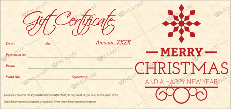 Gift certificate - Office Template