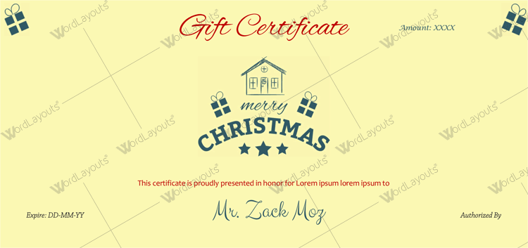 Gift certificates Word Christmas