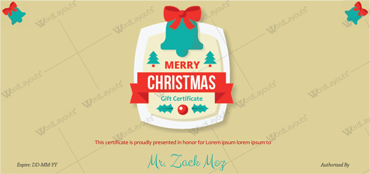 Gift voucher template for christmas Word