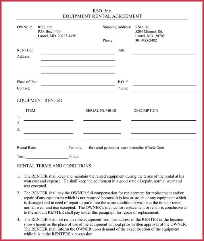 Equipment Rental Lease Agreement 12 Samples Formats In Pdf Word