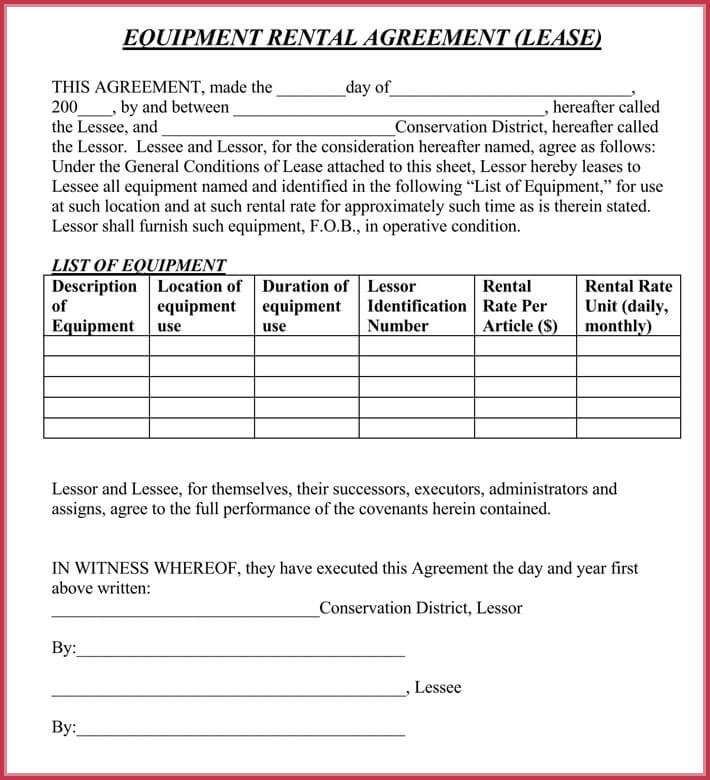 Equipment Rental Lease Agreement   Samples Formats In Pdf  Word