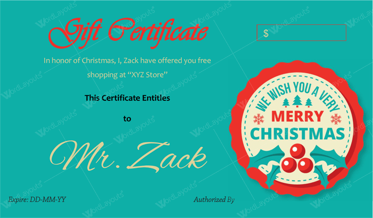 Merry christmas gift certificate card template word