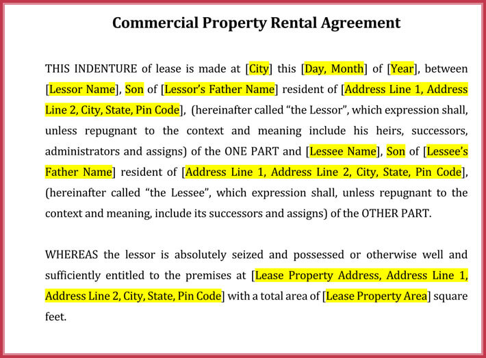 editable month to month rental lease agreement