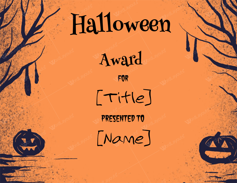 Halloween Award Certificates - 5+ Templates for Microsoft Word