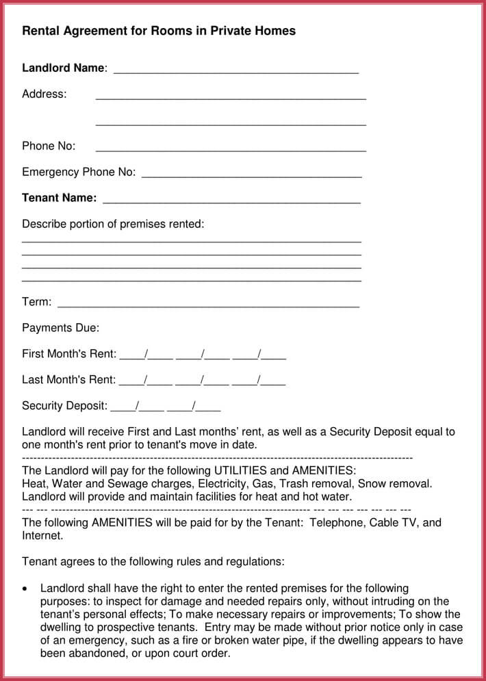 editable room rental agreement