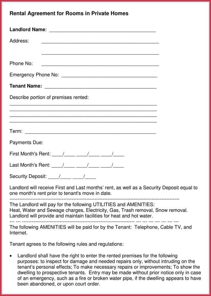 editable room rental agreement