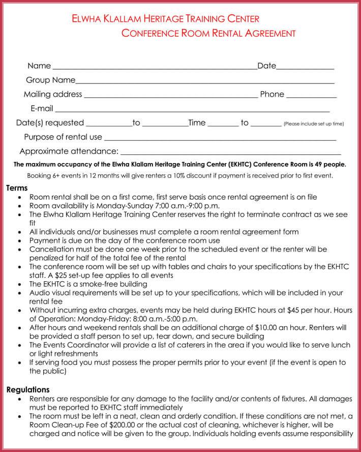 room rental agreement example