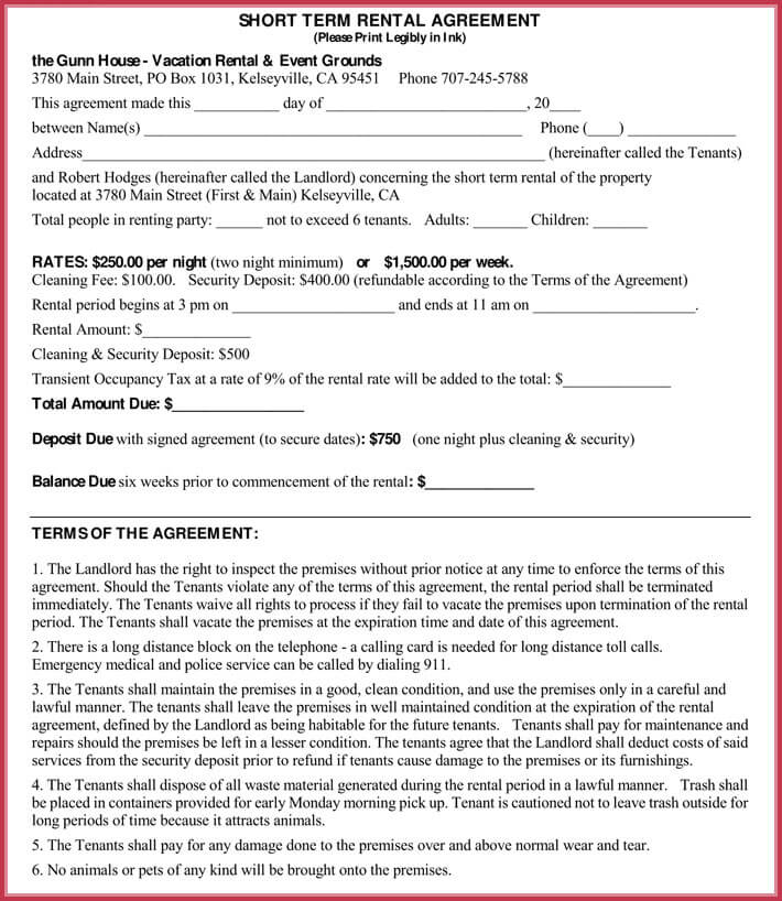 Short Term Rental Agreement Samples Forms Writing Tips