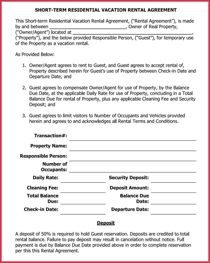 print free short-term rental lease agreement