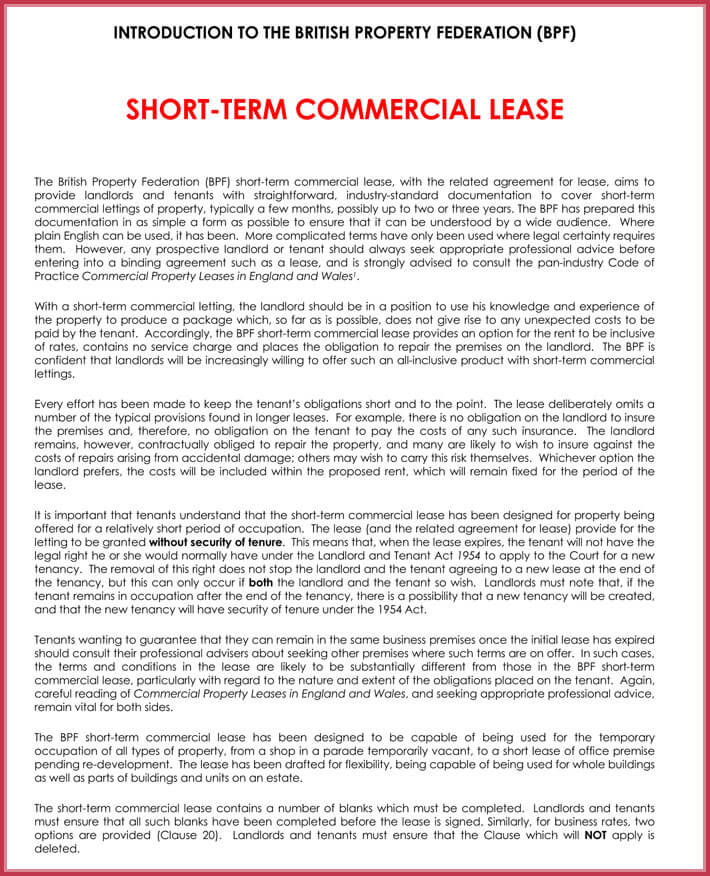 edit free short-term rental lease agreement