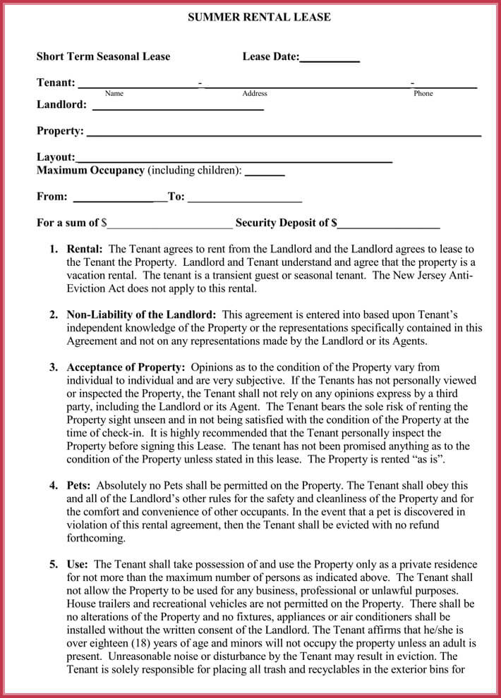 short-term rental lease agreement free download