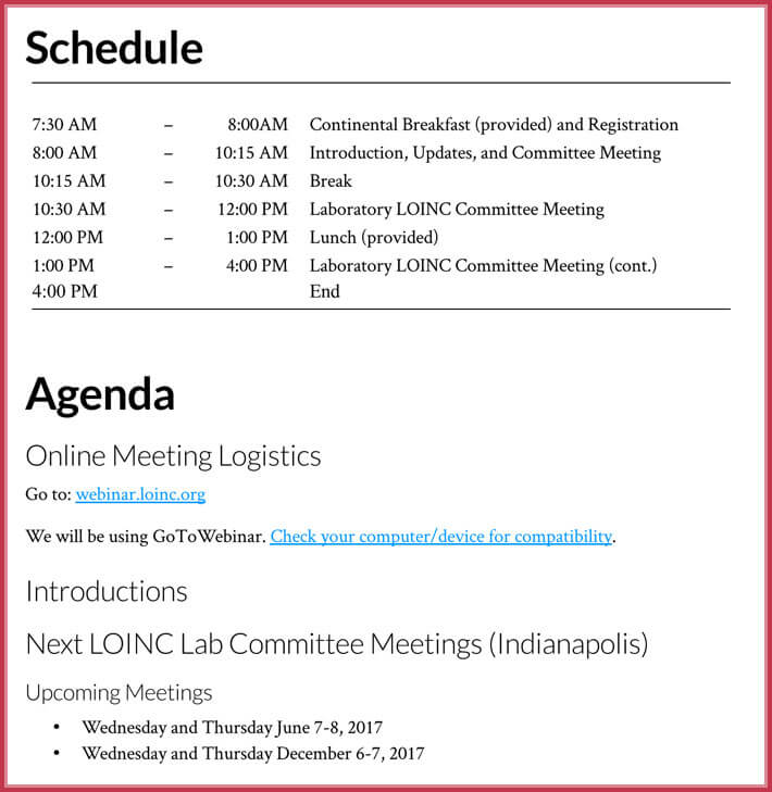 free download simple agenda template