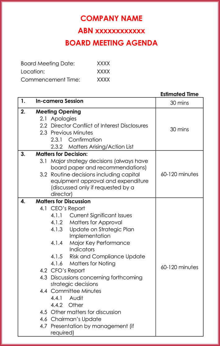 print free simple agenda template