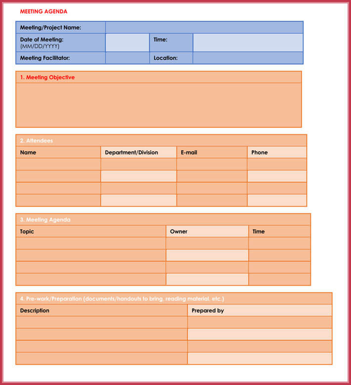 free download simple agenda template easily