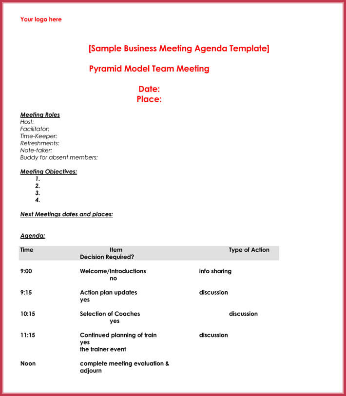 Simple Agenda Template   Best AgendaS Download In Pdf  Word