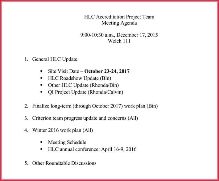 free edit team meeting agenda template