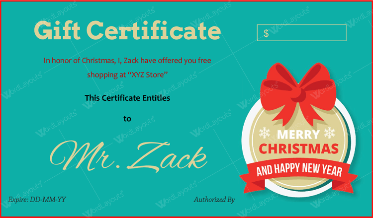 christmas Gift certificate template for Word
