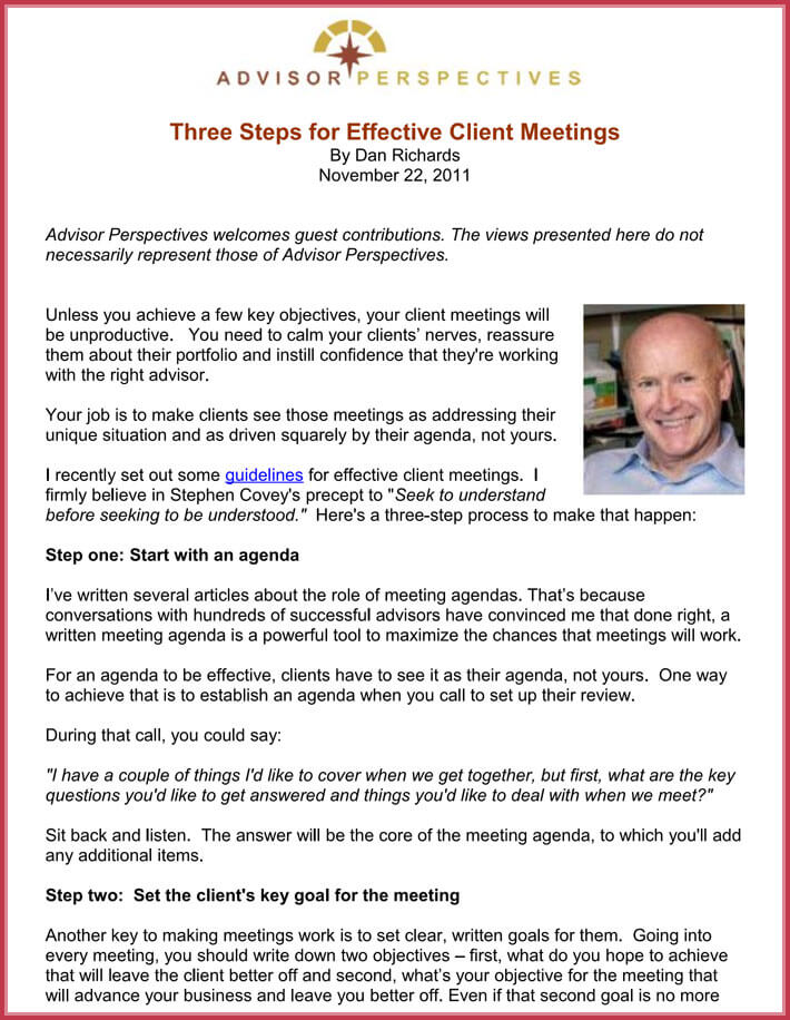 Client Meeting Agenda Template   Samples Formats In Pdf