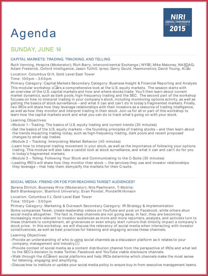 print free conference agenda template