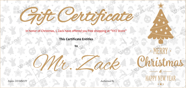free customizable gift certificate template