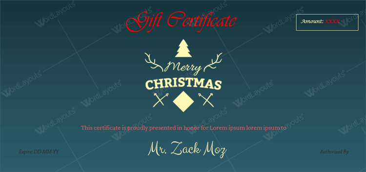 gift certificate templates word for Christmas