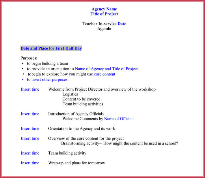 Staff Meeting Agenda Templates Samples In Word  Pdf Format