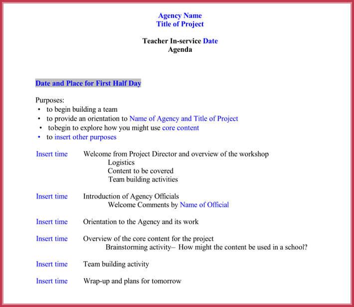 school meeting agenda template   datariouruguay
