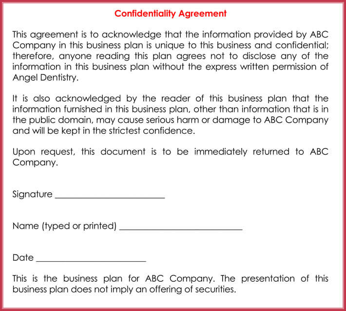 Basic Confidentiality NonDisclosure Agreement Forms Templates - It confidentiality agreement template