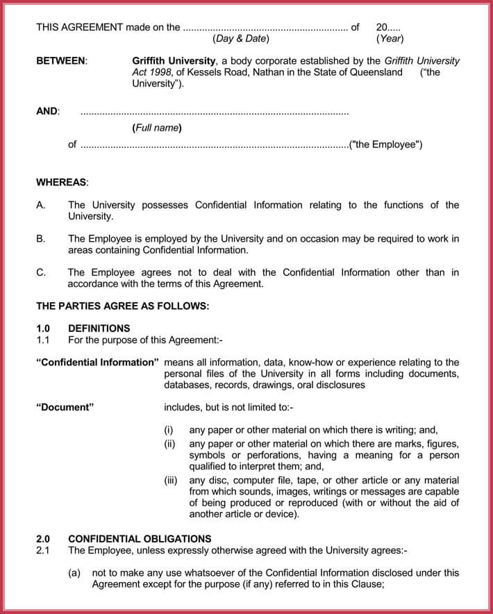 Basic confidentiality non disclosure agreement forms for Basic nda template