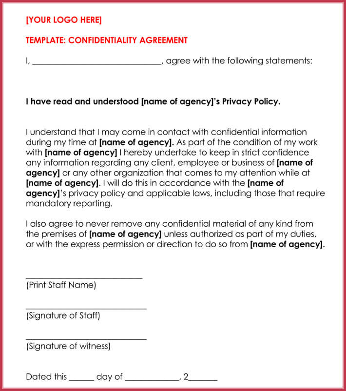 basic confidentiality non disclosure agreement forms templates. Black Bedroom Furniture Sets. Home Design Ideas