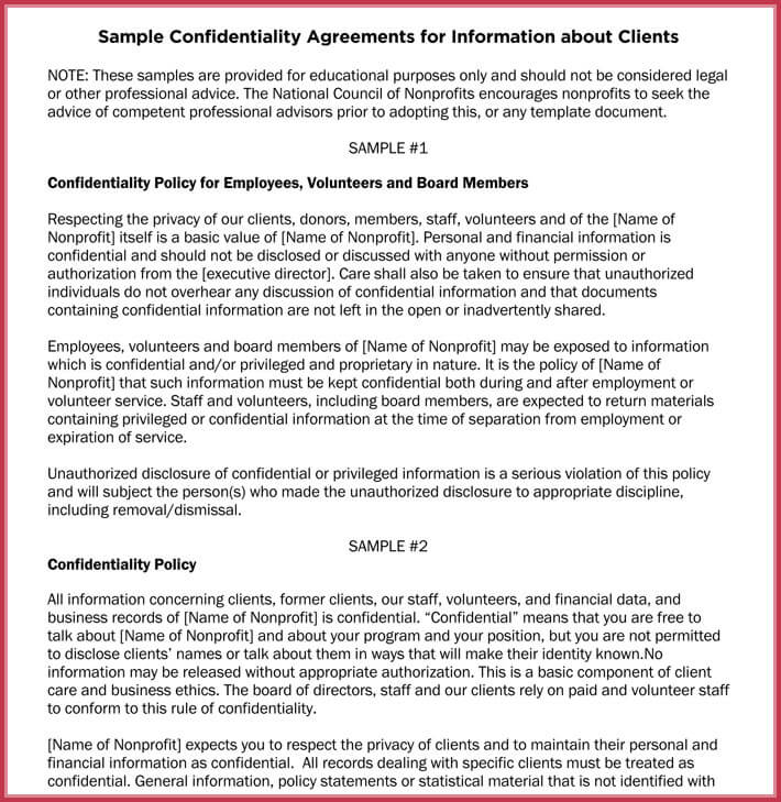 Basic Confidentiality NonDisclosure Agreement Forms Templates - Confidentiality policy template