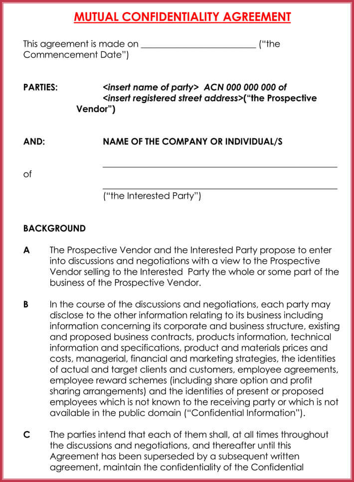 free download basic confidentiality agreement