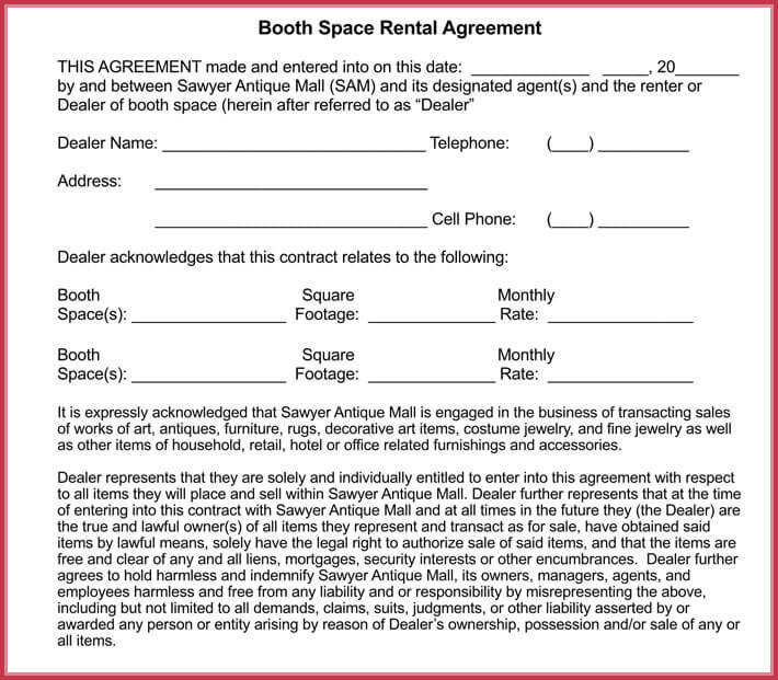 Booth Rental Agreement Template    Free Samples Forms