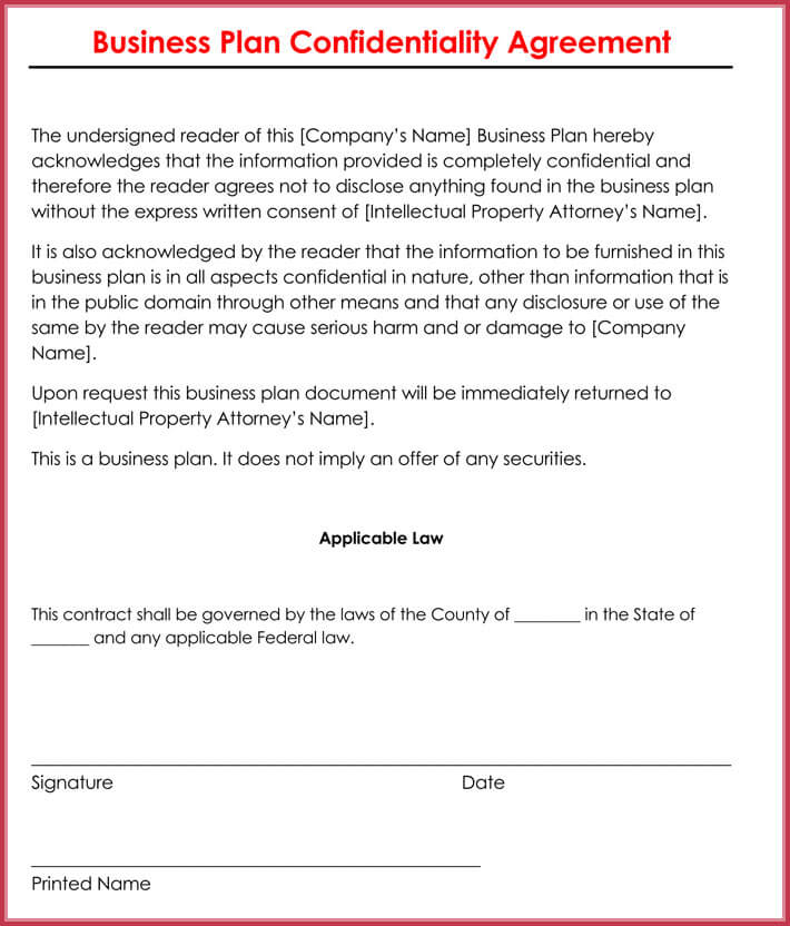 sample of business confidentiality agreement
