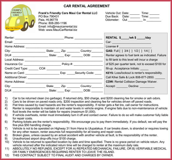 free printable car rent agreement