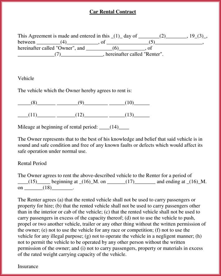 Car Rental Agreement 7 Samples Forms Download In Word Pdf