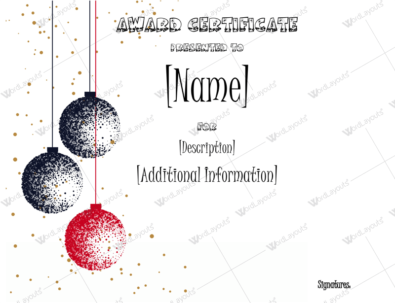 Christmas Award Certificate Template Word