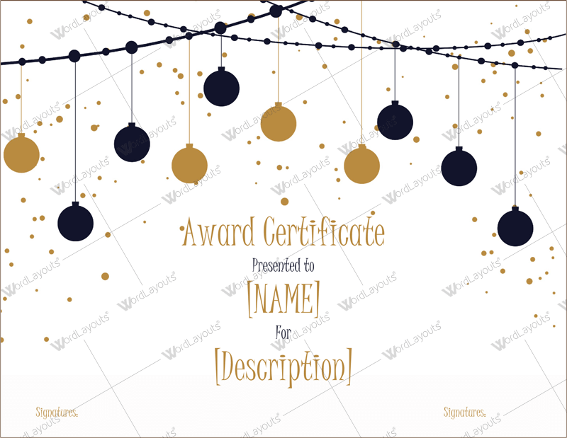 Christmas Themed Award Certificate Templates Download In Word Pdf