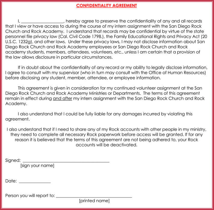 Church Confidentiality Agreement   Best Samples Form  Templates